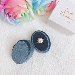BNIB blue oval velvet ring box ring bearer